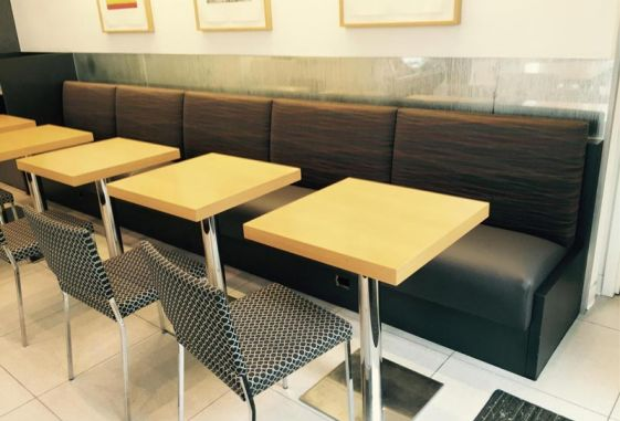 Custom-commercial-banquette-faux-leather-seat-upholstered-back