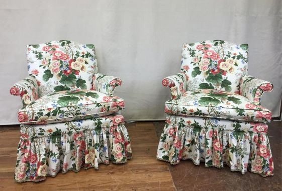 Custom-floral-chintz-bedroom-chairs-down-cushion-shirred-dress-maker-skirt