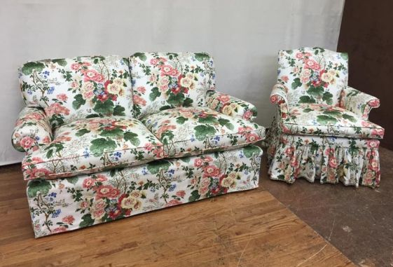 Custom-floral-chintz-pillow-back-love-seat-bedroom-chair-shirred-dress-maker-skirt