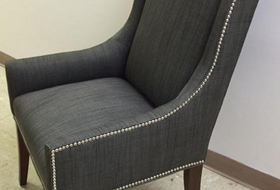 Custom-nail-head-nickle-trim-arm-chair-fully-upholstered-seat-stain-tapered-legs