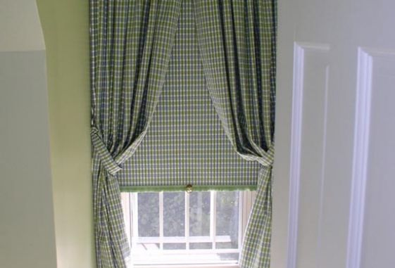 Custom-shirred-tied-back-drapery-laminated-roller-shade