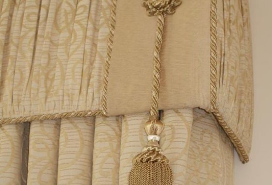 Custom-tassle-shirred-upholstered-cord-trimmed-contrast-band-rosette-valance